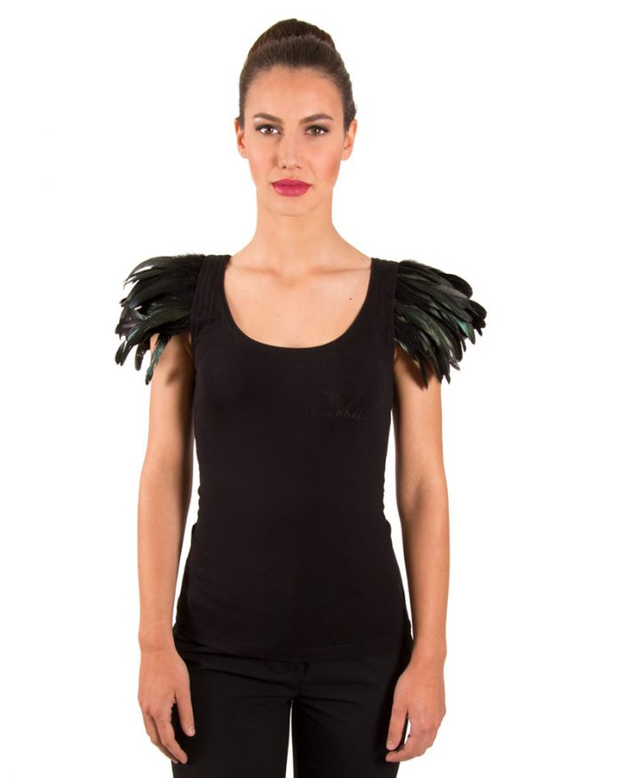 BLACK FEATHER TANK TOP