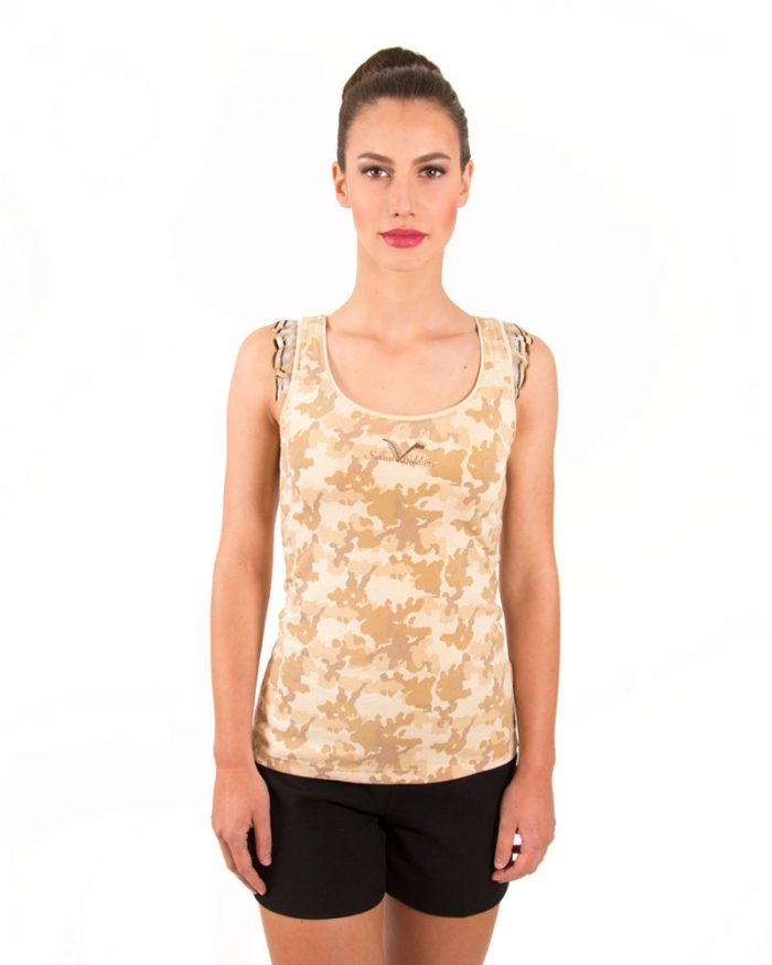 CAMO DESERT TANK TOP WITH SMALL BROWN LOGO